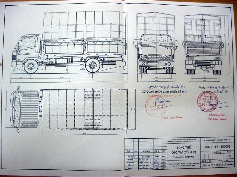 Bản vẽ thùng mui bạt Hyundai HD65
