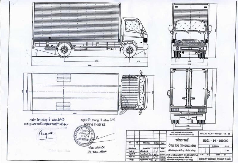 Bản vẽ thùng xe mui bạt hyundai hd72